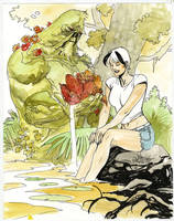 Aby and Swamp Thing Con Skecth by YanickPaquette