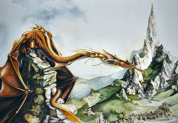 Smaug and the Lonely Mountain by Atriedes