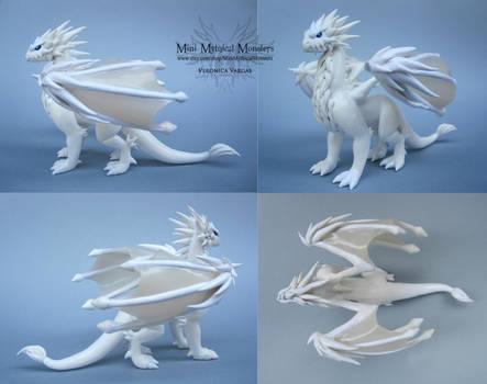 Custom White Polymer Clay Dragon by MiniMythicalMonsters