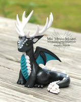 Graphite Pearl, Teal and White Antlered Dragon by MiniMythicalMonsters