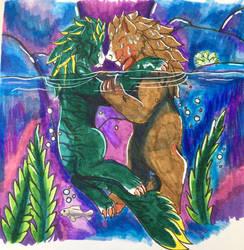 Romantic swim by TheBrushFox