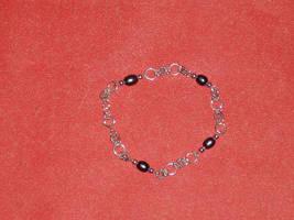 Sterling Silver/Black Pearl Chain Bracelet by Batalha-Enterprises