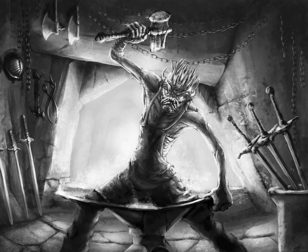 Goblin Blacksmith by TeroPorthan