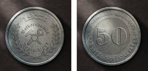 50 Volkspfennig, Series 1933 by pmbasehore
