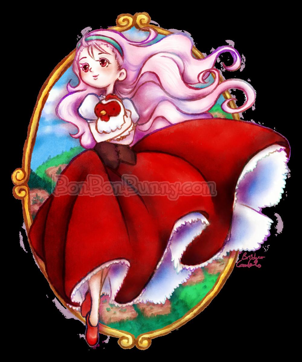 Popuri and chicken friend (Harvest Moon) by Bon-Bon-Bunny