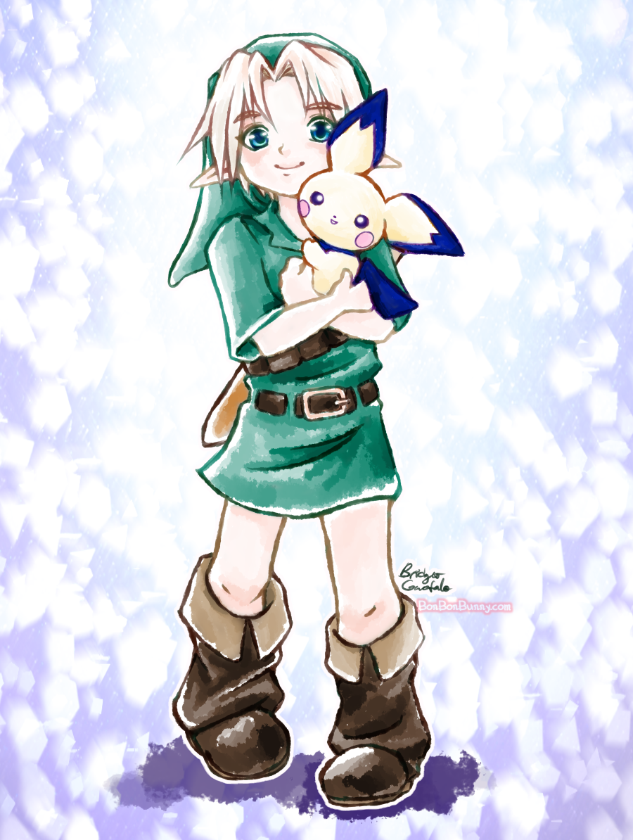 Young Link and Pichu by Bon-Bon-Bunny