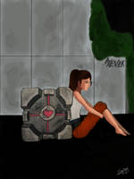 Chell and the Cube by Mad-Mad-Muffin