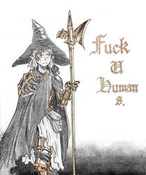 immortal elf witch hates all humans by Inkmo