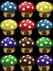 Mushroom Houses by AntumDeluge