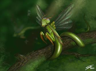 It's a Fuckin' Flying Mantis by ForrestImel