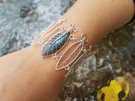 Labradorite leaf necklace by jessy25522