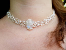Moonstone necklace with glass beads by jessy25522