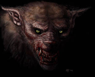 Werewolf head on by Beucephalus