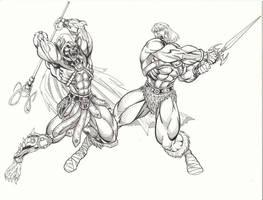He-Man vs Skelator by LakLim