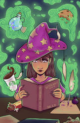 A Witch Learning Her Craft by geothebio