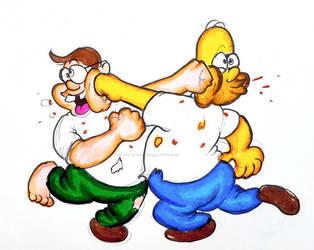 Inktober (Day 24) Peter vs. Homer by ReggieJWorkshop