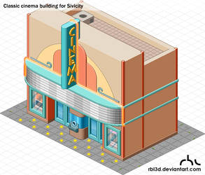 Isometric Classic Cinema building by rbl3d