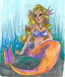 Orange Tailed Mermaid by CrayolaSquirrel