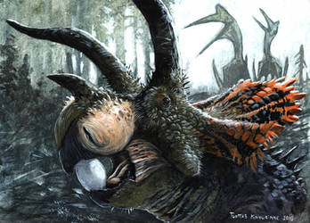 Triceratops, the nest robber version 1 by tuomaskoivurinne