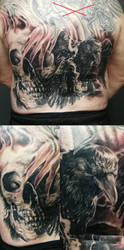 Skull raven Back piece tattoo by tuomaskoivurinne