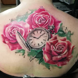 Pocket watch and roses tattoo by tuomaskoivurinne