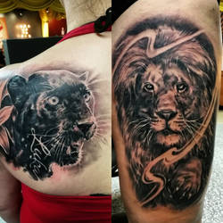 Fairly large cats in tattoos by tuomaskoivurinne