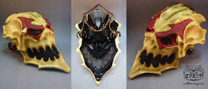 New Harlequin skull mask views by Bakenekoya