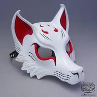 White/Red Kitsune Mask by Bakenekoya