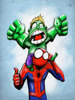 Lil Hulk and Spidey Dad by dizzydave13