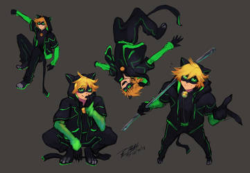 Spiderverse-inspired Chat Noir by tambri-art