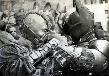 Batman versus Bane by donchild