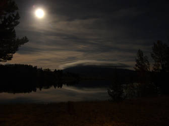 Moon over Lininger Lake by roothragon