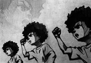 The Boondocks Wallpaper - Huey Freeman BnW by Razpootin