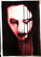 Marilyn Manson Watercolor Red by Fenceclimber