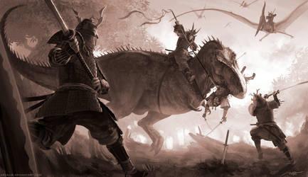 T-Rex vs Samurai by arvalis