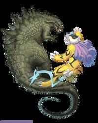 Godzilla vs. Raikou by arvalis