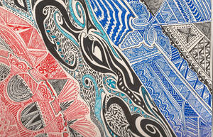 Red and Blue Zentangle by Imprensibilis