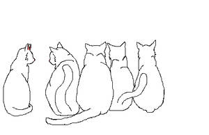 Cat Group Lineart by JustALittleCrayCray
