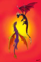 Spyro and Cynder Sunset by Insaneus