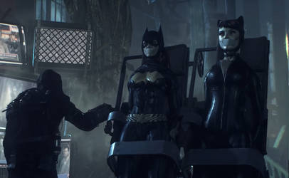 Batman Arkham Knight: Catwoman and Batgirl chained by benja100