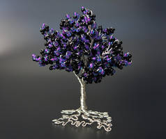 Black purple and silver bead and wire tree of life by Twystedroots