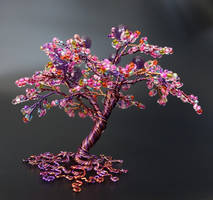 Amethyst pink bead and wire tree of life by Twystedroots