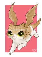 flying demon kitty by keevs