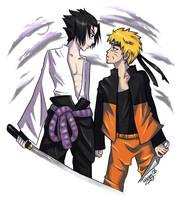 Naruto: SasuNaru coloured by Strayfish
