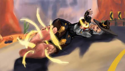 Overwatch: Ashe tickle by IKrein