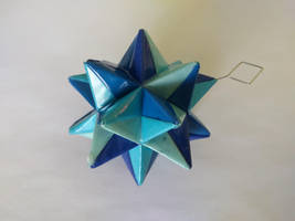 Blue Origami Modular Star by demuredemeanor