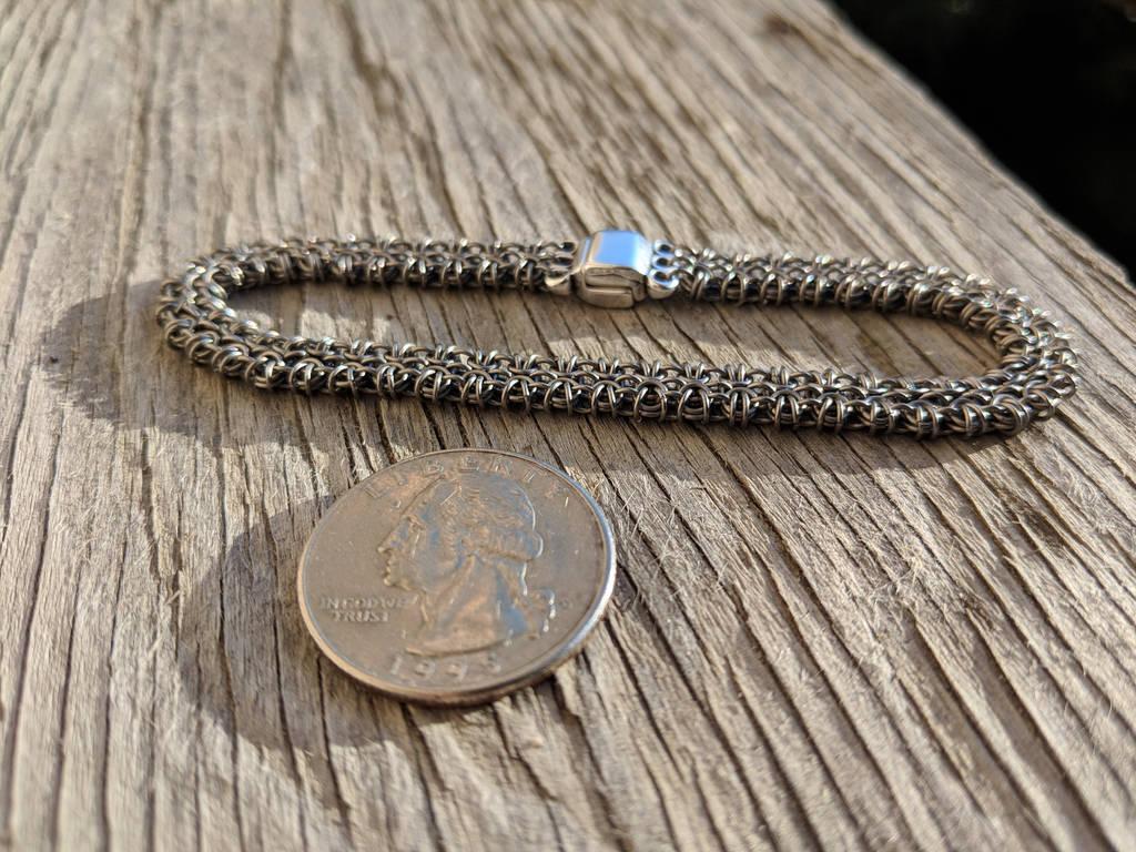Modified Byzantine Bracelet - 24ga Titanium by demuredemeanor