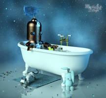 Cute Robot make a Bath by Mysticartdesign