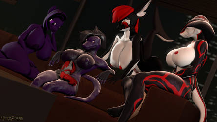 DarkShades and Hellens looking over their owner by WyldFyr56