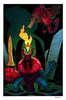 Hellboy VS Anung un Rama by SpicerColor